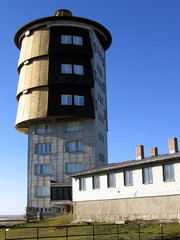 Old communist spy tower on hill Cerchov, Bohemian forest