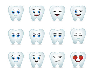 cute tooth  avatar expression set