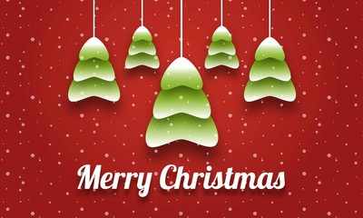 Merry Christmas Green Trees