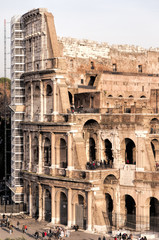 Rome Colosseum Full of Tourists