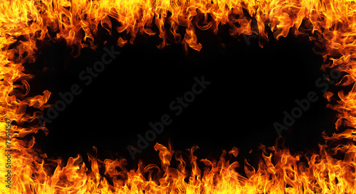 abstract fire frame on black backgroudn - 73414547