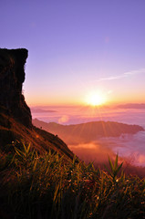 Sunrise scene and sea of fog in early morning