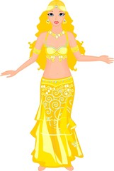 Beautiful dancer of belly dance in yellow dress