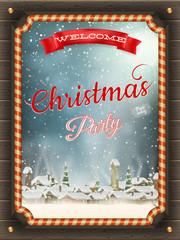 Christmas illustration frame with winter village.