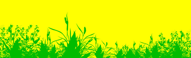Abstract green grass over yellow surface