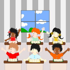Children of different races learn in the school room
