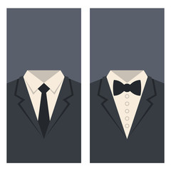 Business Card with Suits and Ties Design. Vector