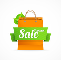 Shopping bag with SALE on ribbon. Vector
