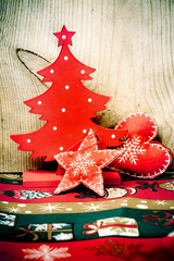 Christmas red wooden decorations,
