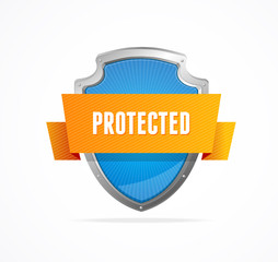 Protect shield on white background