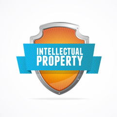 Intellectual property Protect shield on white