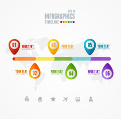 Vector Timeline Infographic. Map and pin