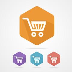 Flat shopping basket icon