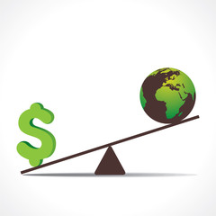 money or earth on weighing concept vector