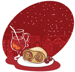 Mulled wine and sweet dessert