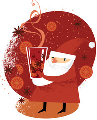 Santa Claus with glass of mulled wine