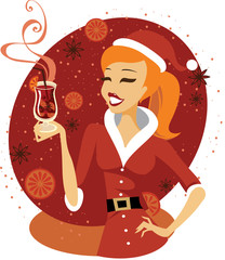 Santa girl with glass of mulled wine
