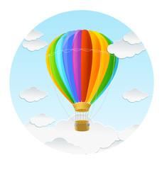 Vector rainbow air ballon and clouds