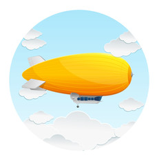Vector yellow dirigible balloon and clouds