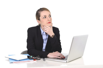 attractive businesswoman thinking distraught while working