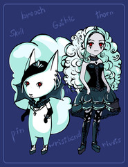 Human and animalistic image of gothic girl
