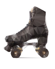 Polygonal illustration of black rollerskate isolated