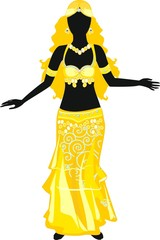 Silhouette of belly dancer in yellow dress