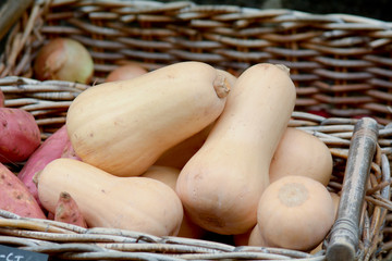 Squash for sale in basket
