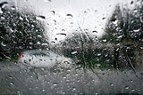 Raindrops with white car