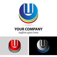 Abstract icons letter u logo