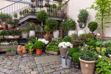 Scandinavian architecture. Flowers decorating entrance to the