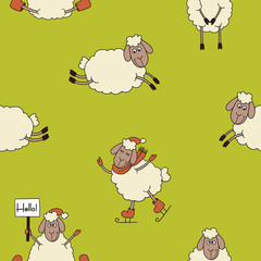 Funny new year seamless pattern with cute lambs