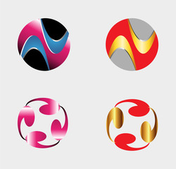Set of circle round logos useful for your design