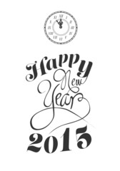 Happy new year vector with clock