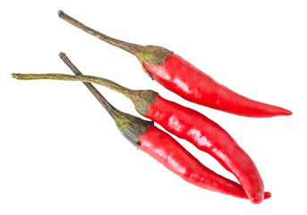 three pods of hot pepper