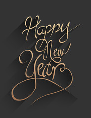 Happy new year vector in embossed black and gold