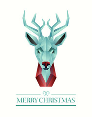 Merry christmas vector with hipster reindeer design