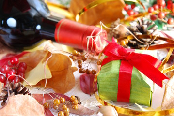 gift with wine bottle