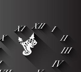 Roman numeral clock on black
