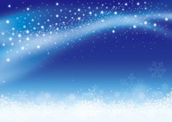 夜空の星と雪の結晶