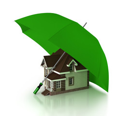 one house under an umbrella, concept of security and protection