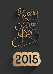 Stylish happy new year design in black and gold
