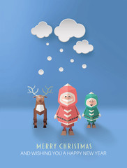 Merry christmas vector with cute cartoon characters
