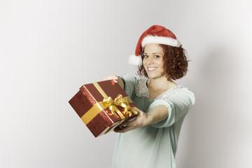 redhead woman on christmas