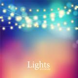 Fototapety Bokeh garland lights.