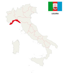 liguria map with flag