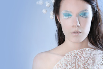 Snow queen on blue