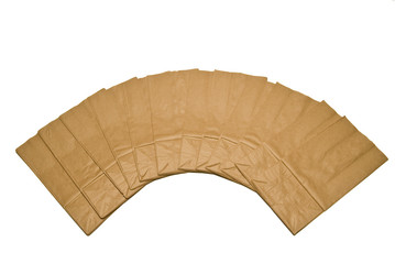 Display of Flat Folded Brown Paper Bags