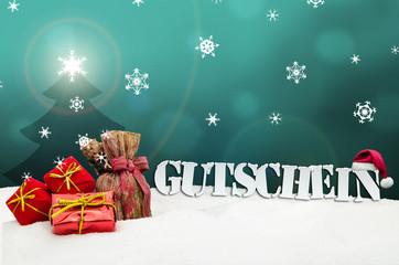 Christmas voucher Gutschein gifts snow