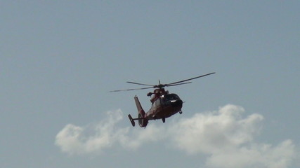 Coast Guard helicopter hovering over target
